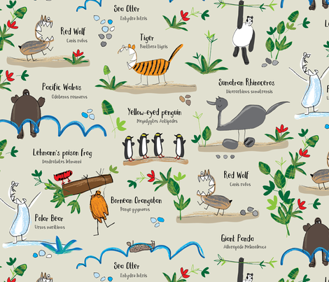 Endangered animals - Save the Tiger - on beige fabric by cecca on Spoonflower - custom fabric