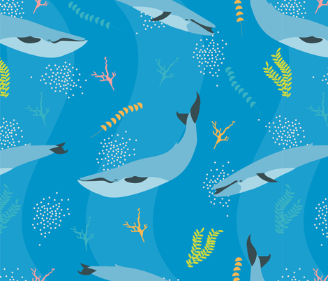 Blue Whales fabric by meredith_watson on Spoonflower - custom fabric