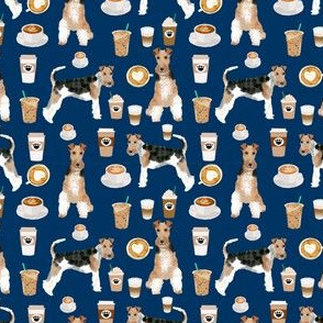 Wire Fox Terriers (smaller scale)  dog breed fabric coffees navy