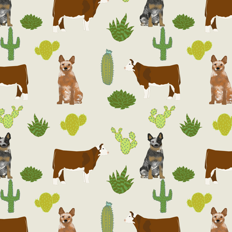 red and blue heeler australian cattle dogs with cattle and cacti fabric by petfriendly on Spoonflower - custom fabric