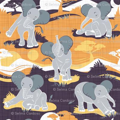 Baby African elephants joy night and day // yellow mustard