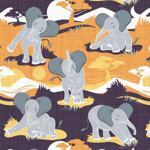 Baby African elephants joy night and day // yellow mustard