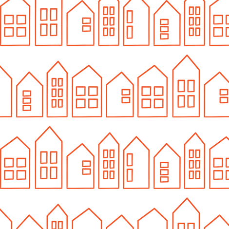 houses in orange fabric by littlearrowdesign on Spoonflower - custom fabric