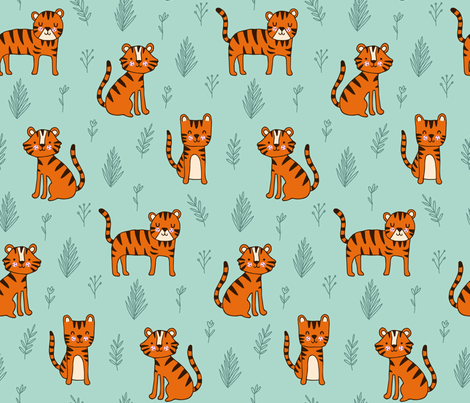 Tiger Friends fabric by heatherhightdesign on Spoonflower - custom fabric