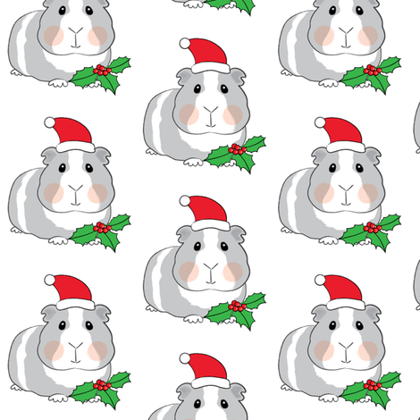 christmas guinea-pigs-with-santa-hats-and-holly fabric by lilcubby on Spoonflower - custom fabric