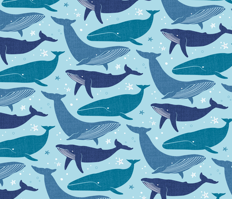 SRussell_brilliant_blue_whale fabric by stephanierussell on Spoonflower - custom fabric