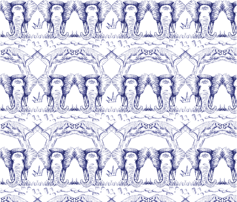 Elephants and leopards: Look after our animals. fabric by csic_arte on Spoonflower - custom fabric