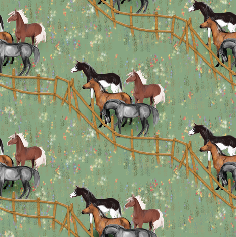 Horses waiting at the Pasture Gate fabric by eclectic_house on Spoonflower - custom fabric