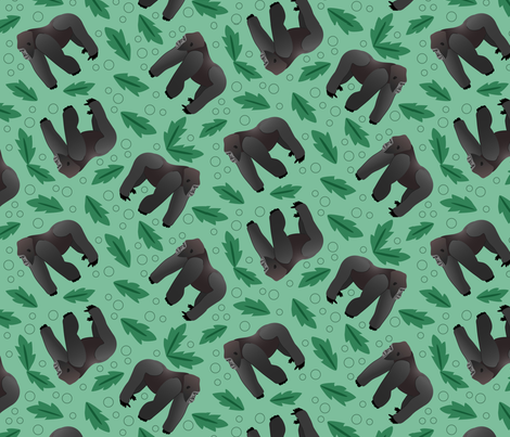 Gorilla and green leaves fabric by inklaura on Spoonflower - custom fabric