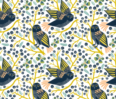 spotted owl  fabric by vo_aka_virginiao on Spoonflower - custom fabric