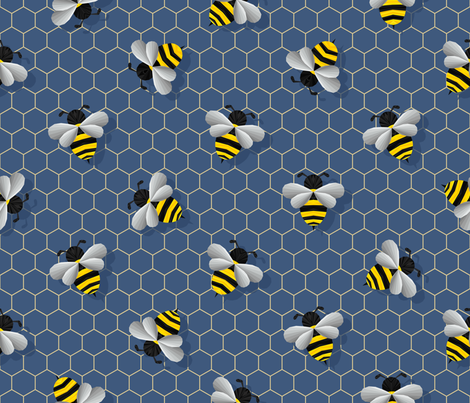Geometric Bumbles on Blue fabric by artsytoocreations on Spoonflower - custom fabric