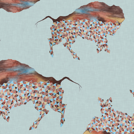 Rotated Bison fabric by lnd_art on Spoonflower - custom fabric