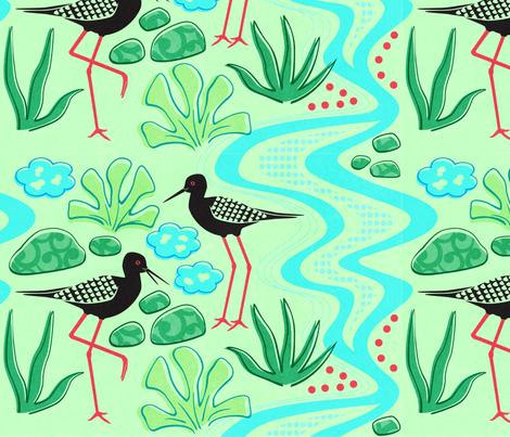 Kaki Birds Aotearoa fabric by ringosparkle on Spoonflower - custom fabric