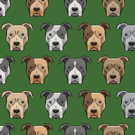 pit bull faces on pine fabric by littlearrowdesign on Spoonflower - custom fabric