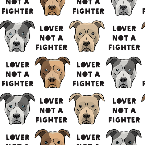 lover not a fighter pit bull on white fabric by littlearrowdesign on Spoonflower - custom fabric