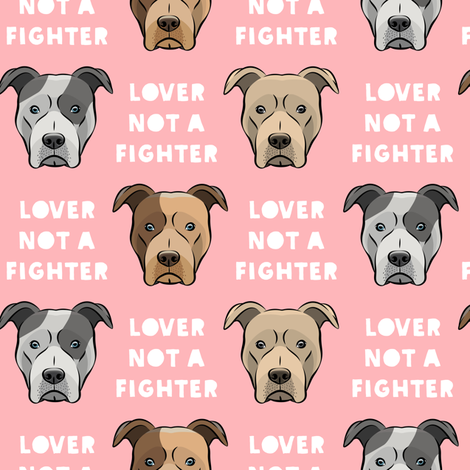 lover not a fighter - pit bull on pink fabric by littlearrowdesign on Spoonflower - custom fabric