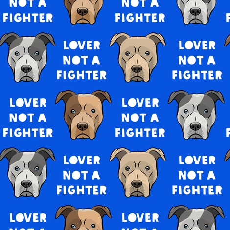 lover not a fighter - pit bull on blue fabric by littlearrowdesign on Spoonflower - custom fabric