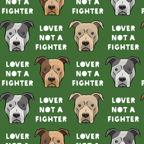 lover not a fighter - pit bull on pine fabric by littlearrowdesign on Spoonflower - custom fabric