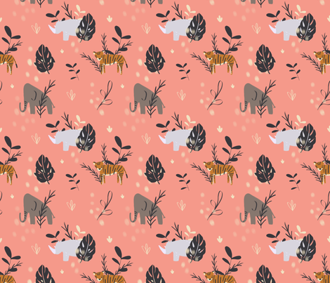 Precious Safari Animals fabric by allhaildesign on Spoonflower - custom fabric