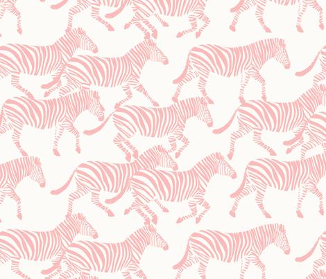 zebras in light pink fabric by littlearrowdesign on Spoonflower - custom fabric