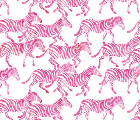 zebras in pink fabric by littlearrowdesign on Spoonflower - custom fabric