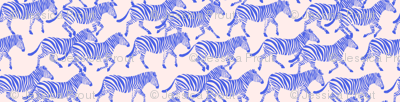 zebras in blue on pink