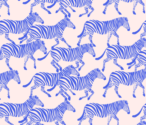 zebras in blue on pink fabric by littlearrowdesign on Spoonflower - custom fabric