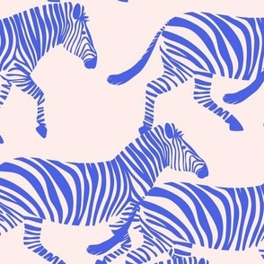 zebras in blue on pink