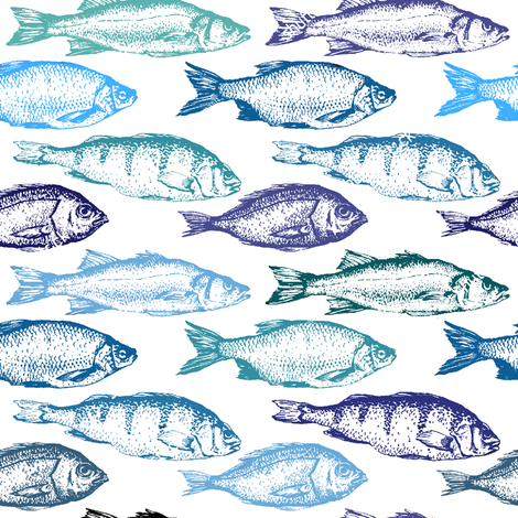 Fish Sketches in Blue Shades // Large fabric by thinlinetextiles on Spoonflower - custom fabric