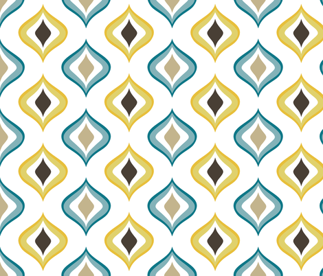 retro drops white mustard blue brown  fabric by delinda_graphic_studio on Spoonflower - custom fabric
