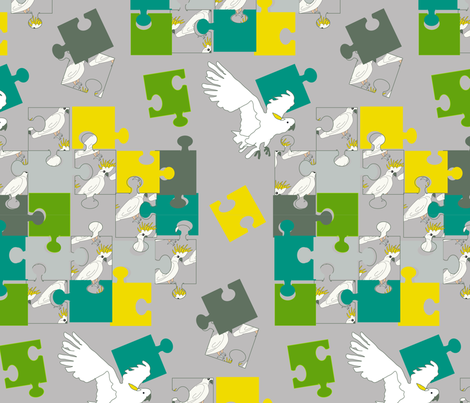 cockatoo crested yellow puzzle-01 fabric by sissi-tagg on Spoonflower - custom fabric