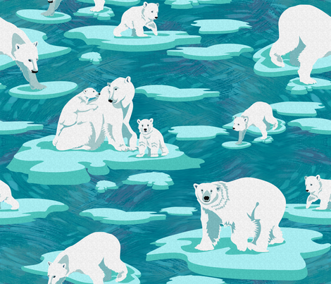 Polar Bears meet on the ice (emerald)  fabric by chicca_besso on Spoonflower - custom fabric