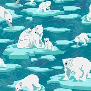 Polar Bears meet on the ice (emerald)