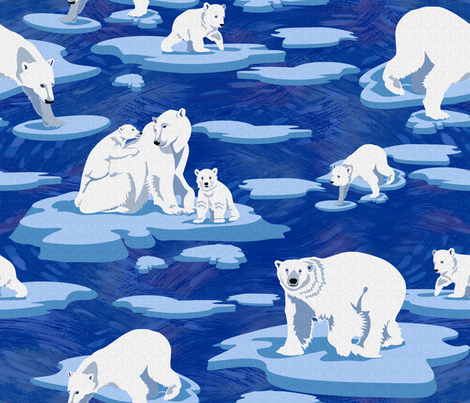 Polar Bears meet on the ice (dark blue)   fabric by chicca_besso on Spoonflower - custom fabric