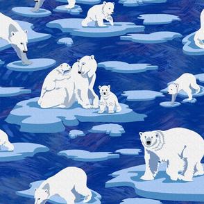 Polar Bears meet on the ice (dark blue)