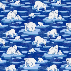 Polar Bears meet on the ice  (dark blue 50)