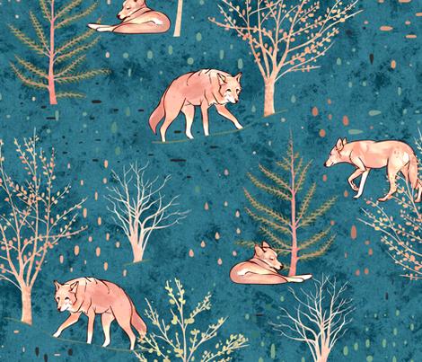 Red Wolf Woods fabric by elisabethnoel on Spoonflower - custom fabric