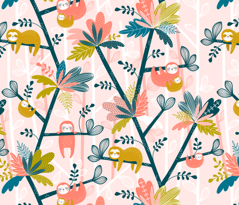 Pygmy Sloth Island Pink fabric by sarah_knight on Spoonflower - custom fabric