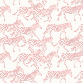 (small scale) zebras in light pink