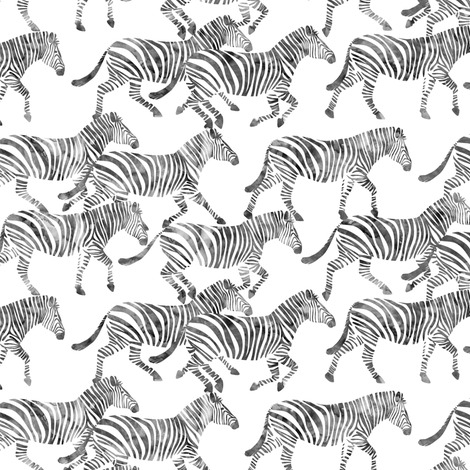 (small scale) zebras on the move fabric by littlearrowdesign on Spoonflower - custom fabric