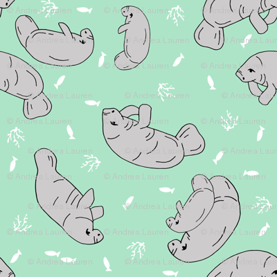 manatee fabric (tossed) // manatees dugong animals design andrea lauren fabric - mint