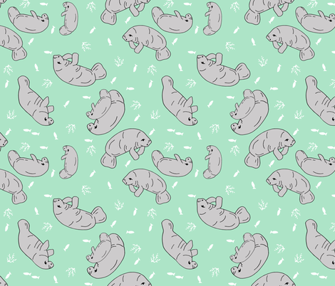 manatee fabric (tossed) // manatees dugong animals design andrea lauren fabric - mint fabric by andrea_lauren on Spoonflower - custom fabric