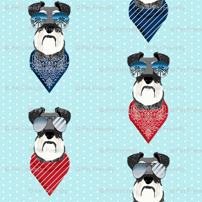 schnauzer sunglasses summer bandana dog breed fabric blue