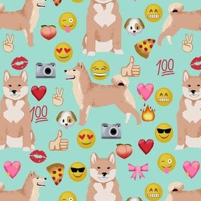 shiba inu emoji dog breed fabric emojis mint