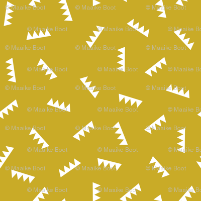 Geometric abstract royal crown triangle ridge shape design mustard yellow