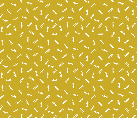 Geometric abstract royal crown triangle ridge shape design mustard yellow fabric by littlesmilemakers on Spoonflower - custom fabric