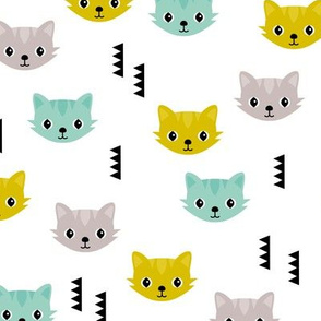Cute kitten cat illustration in colorful summer palette with geometric details for kids boys