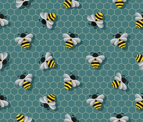 Geometric Bumbles on Deep Green fabric by artsytoocreations on Spoonflower - custom fabric