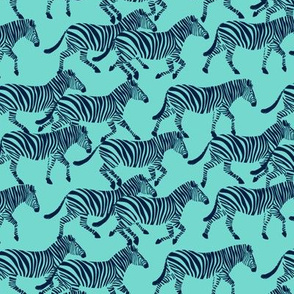 (small scale) zebras in navy on teal