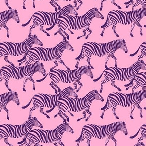 (small scale) zebras in purple on pink